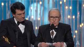"Ennio Morricone winning Best Original Score for ""The Hateful Eight"""