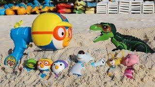 뽀로로 공룡 모래놀이 물총 장난감 해양생물 친구 만들기 Sandbox mold Toys with Dinosaur Pororo Friends