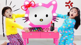 Annie And Suri Dress Up And Play With Hello Kitty Toys And Makeup