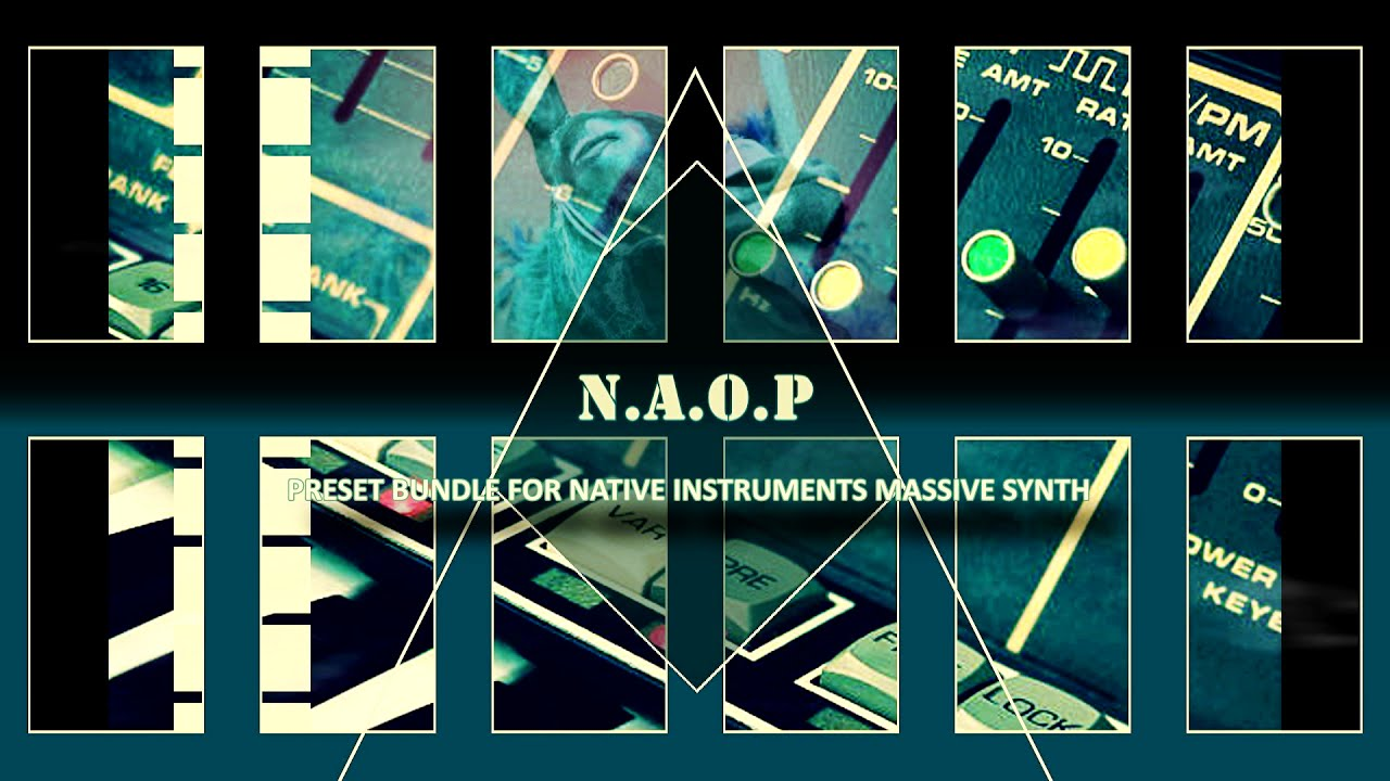 Native Instruments MASSIVE Synth preset pack -- N.A O.P -- The expansion pack contains 64 useful presets, with a variety of synth pads, bass presets, sequences, synth leads, rhythm pads, and atmospheric sounds.