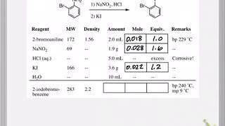 Reagent Table Calculations For Organic Chemistry Lab