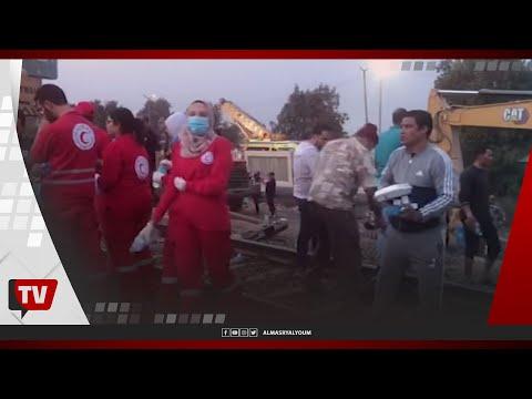 أهالي طوخ يوزعون التمر والعصائر على الصائمين في محيط حادث قطار بنها