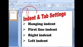 Use of Hanging Indent,First Line Indent in ms word 2007