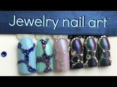 How to Super-Secure Gems and Caviar Beads | Jewelry nail art tutorial
