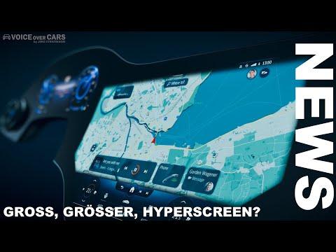 """2021 Mercedes-Benz Hyperscreen! Ein 1,41 m breites """"Display"""" für den Mercedes EQS Hyperdino Fahrer!"""