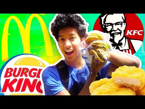 JAPANESE FAST FOOD VS. AMERICAN!!! TASTE TEST!!