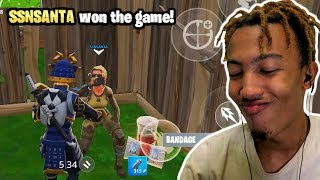Getting Carried by SSNSANTA / Practicing for Fortnite Mobile Duo Tournament