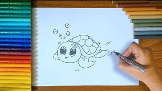 How To Draw A Turtle Step By Step For Kids