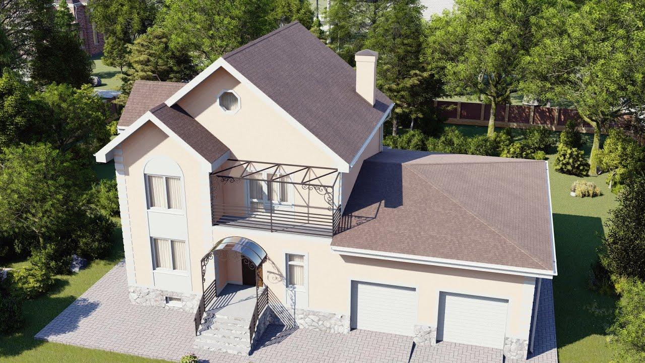 Дом 287 м2 с сауной, четырьмя спальнями и гаражом на 2 авто