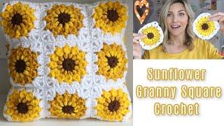 Sunflower Granny Square Crochet Tutorial