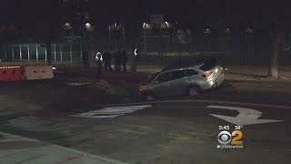 Sinkhole Nearly Swallows SUV In Washington Heights