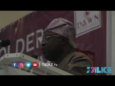 SEN. IYIOLA OMISORE DELIVERING HIS GOODWILL MESSAGE IN IBADAN