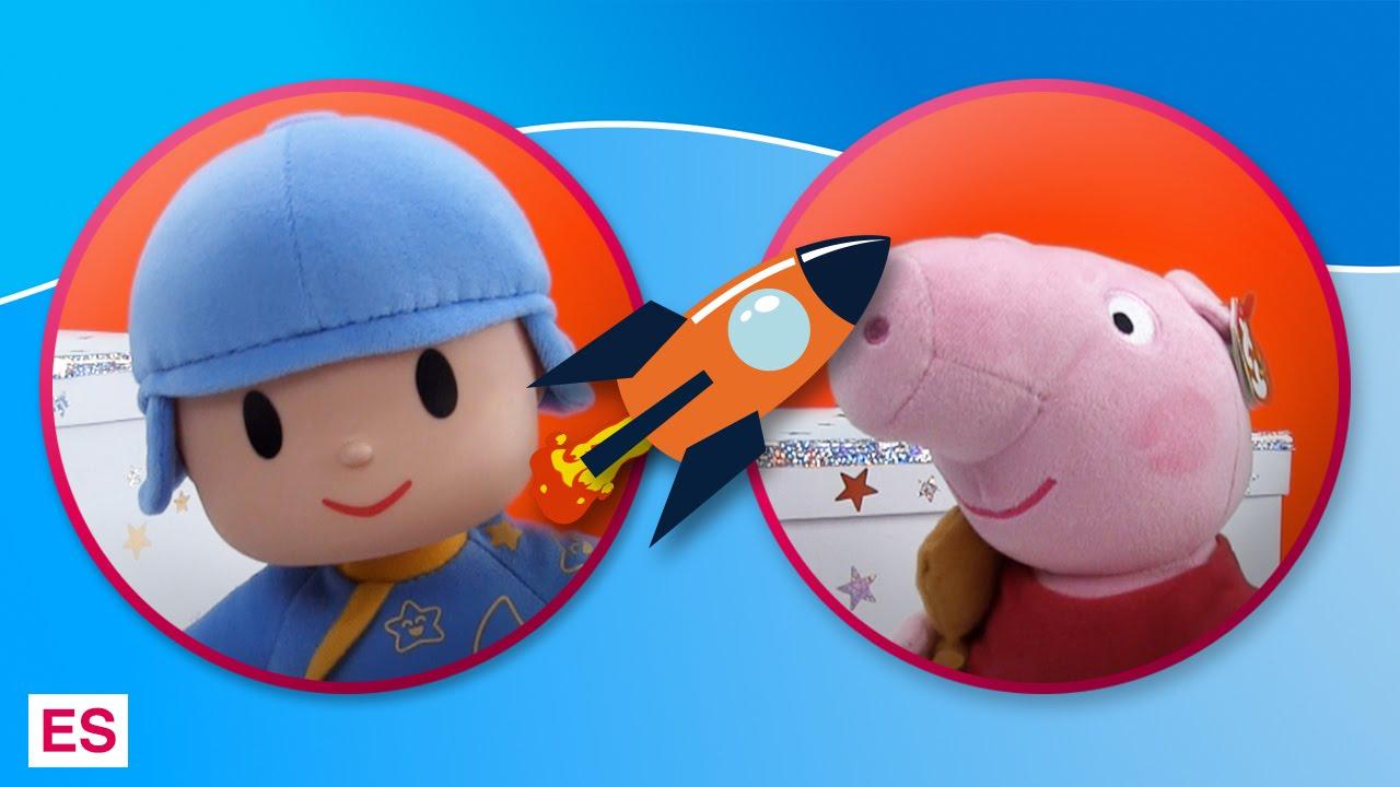 Pocoyó y Peppa Pig juegan con el cubo de Fisher Price
