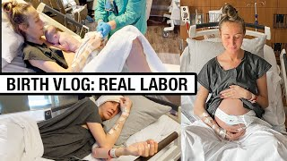 BIRTH VLOG! REAL LABOR + DELIVERY- Husband almost missed baby birth!