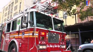 preview picture of video 'FDNY Ladder 122 'The Pride of Park Slope' leaving scene, Brooklyn, NY, USA, 2014.'