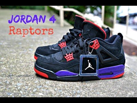 cheaper b1954 3325d Jordan 4 | Raptors | Shoe And On Foot Review - смотреть ...