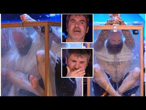 Simon Cowell's horror as he fears Matt Johnson's daring underwater escape act on Britain's Got Ta... (видео)