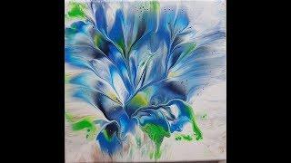 (319) flower dip with blue (6 flowers) 20x20cm
