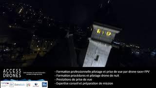 Vols en drone FPV nocturne à Chambéry.