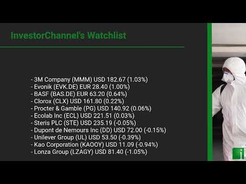 InvestorChannel's Disinfection Watchlist Update for Monday, October, 25, 2021, 16:00 EST