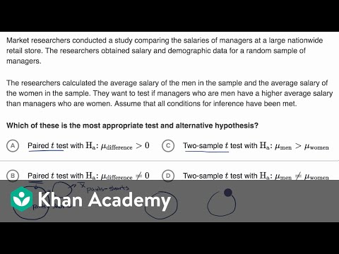 Hypotheses for a two-sample t test (video) | Khan Academy