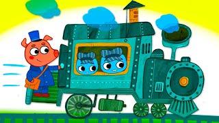 Котики, вперед!  Чух-чух ням-ням - серия 46 - мультик про паровозик для детей