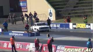 SDR MOTORSPORT DATSUN COUPE 13B TURBO RUNS 7.23 @ 181 MPH AT SUPERNATS SYDNEY DRAGWAY 8.9.2012