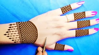 Very Easy Back Hand Checks Mehndi Design-आसान मेहंदी लगाना सीखें-easy Back Hand Stylish Arabic Henna