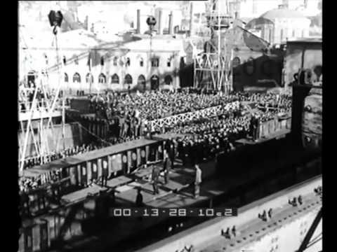 Costruzione della corazzata 'Vittorio Veneto nei cantieri riuniti dell'Adriatico nel XII annuale