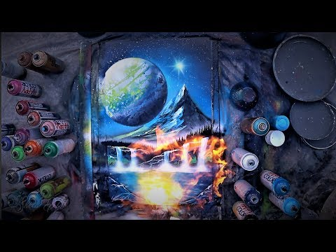 Valley under the Moon - SPRAY PAINT ART by Skech