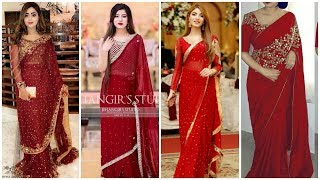 Top Fine Red Gorgeous  Indian Designer Sarees Blouse Designs