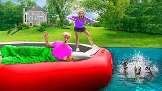24 Hour Overnight Challenge on Backyard Inflatable Water Trampoline!! (Pond Monster Found Hiding)
