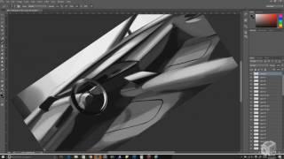 Interior Sketch | Car Design Photoshop Render Demo #9
