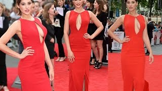 OMG!! Nargis Fakhri 'BRALESS' Dress on Red Carpet at London Premiere of 'Spy'