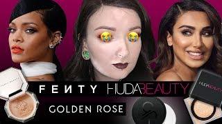 Test na żywo pudrów: Huda vs Fenty vs Golden Rose
