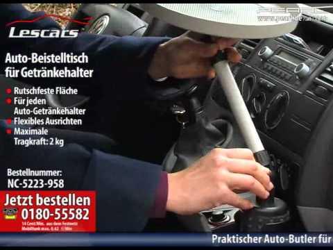 Lescars Auto-Beistelltisch für den Getränkehalter
