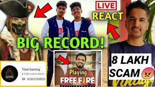 Total Gaming & TSG made HUGE RECORD! Amit Bhadana playing FREE FIRE | Desi Gamer LIVE react on SCAM!