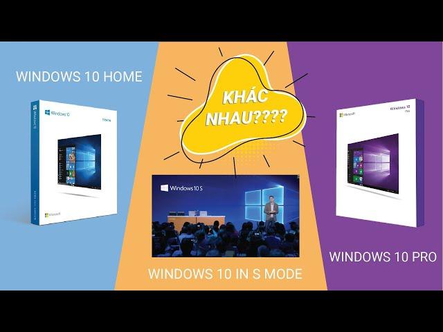 Sự khác biệt giữa Windows 10 home - Windows 10 Pro và Windows 10 in S mode!