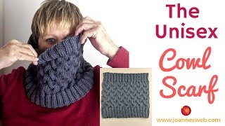 Knitted Unisex Cabled Scarf - Knitting Scarf for Men