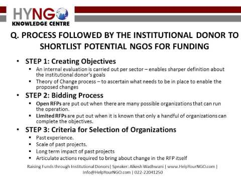 Process followed by the institutional donor to shortlist potential NGOs for funding