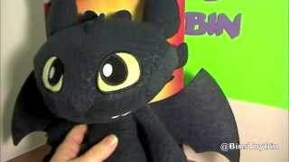 Squeeze & Growl TOOTHLESS Plush! Dreamworks Dragons Cute Night Fury Toy Review! By Bin's Toy Bin