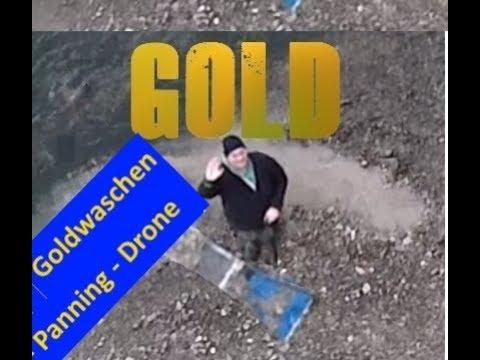 Goldwaschen in Deutschland - Bayern (Goldsuche) mit Pfanne und Sluice (Panning) und Drone