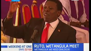 DP Ruto and Moses Wetangula meet at the burial ceremony for the late Yvonne Wamalwa