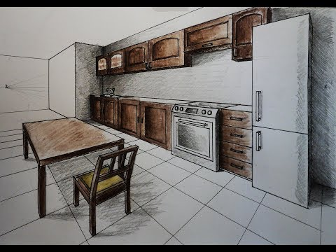 How To Draw Two Point Perspective Kitchen With Furniture Desk Chair