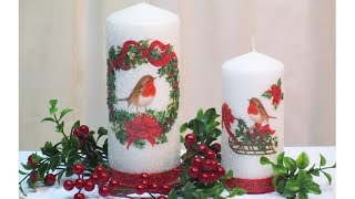 DECOUPAGE TUTORIAL CHRISTMAS CANDLES IDEAS