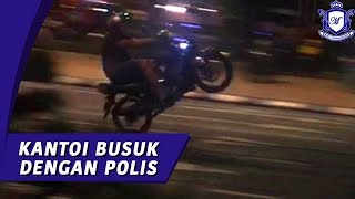 Mat Rempit Selamber Wheely Depan Polis