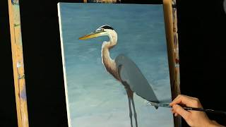 How to paint a blue heron in acrylic - Time Lapse video - With Tim Gagnon