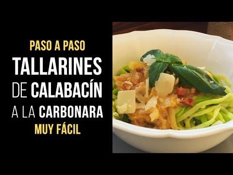 Tallarines Zucchini Noodles de Calabacín a la Carbonara - Receta Espiralizador o pasta Mercadona