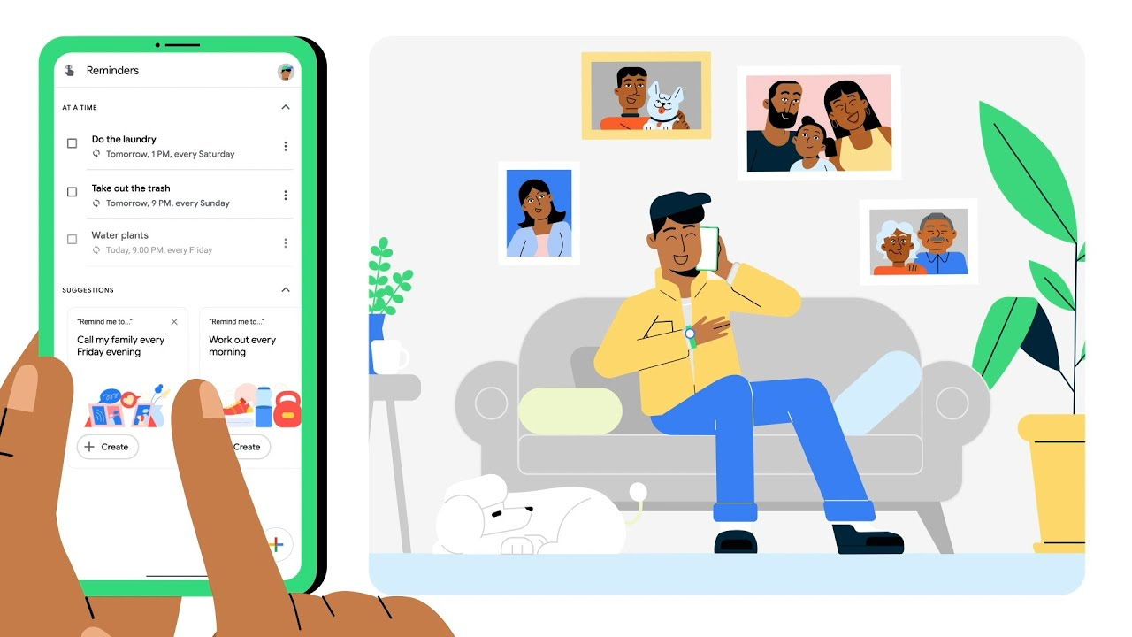 Illustration of person adding reminders to Google Assistant