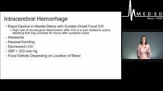 Neurovascular Crisis: Caring for Stroke Patients: Hemorrhagic Stroke - MED-ED